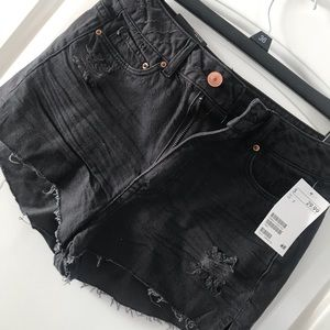 Black Denim Cut-off Shorts